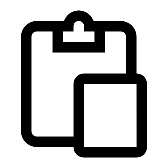 Paste icon. This image depicts a piece of paper overlapping a clipboard. The clipboard is rectangular shaped with rounded edges, whereas the paper is a perfect rectangle with sharp edges. There are four lines of writing present on the paper.