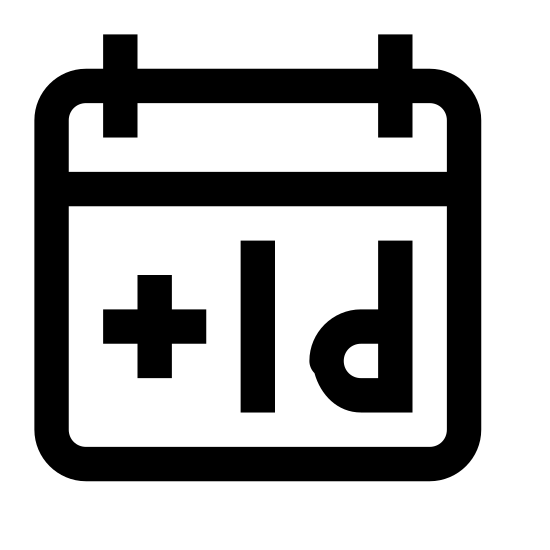 Plus 1 Day icon. The icon is depicting a calendar that is rectangular with sharp edges and a line dividing the top portion from the bottom. In the center of the object is written plus one 'd' indicating plus one day on the calendar.