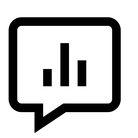 Wątek z ankietą icon. This is a picture of a quotation bubble with three bars in the middle. The bars are lined up next to each other, as if to show the differences in their sizes. The middle bar is the shortest, the left side is medium, with the right bar being the tallest.