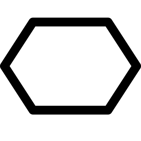Polygon icon. The icon has six sides to it. Each side of the icon is equal in length and size. Each side of the icon connect to one another so the shape of it goes all the way around.