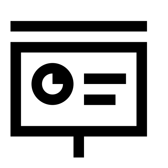 Presentación icon. It's a logo representing presentation. There is a projector screen with a pie chart and three horizontal lines depicting writing. There is a small wide rectangle on the top of the projector where it would be pulled from and a string with a circle at the end to represent the drawstring.