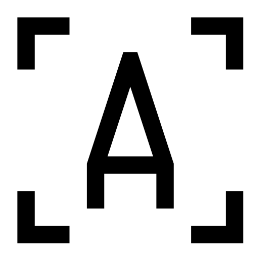 """OCR icon. Two straight lines meet at a 90 degree angle. There are four sets of these; one with the legs pointing down and right; one with the legs pointing left and down; one pointing up and left; one pointing right and up; to create a frame. Inside the frame is the letter """"A""""."""