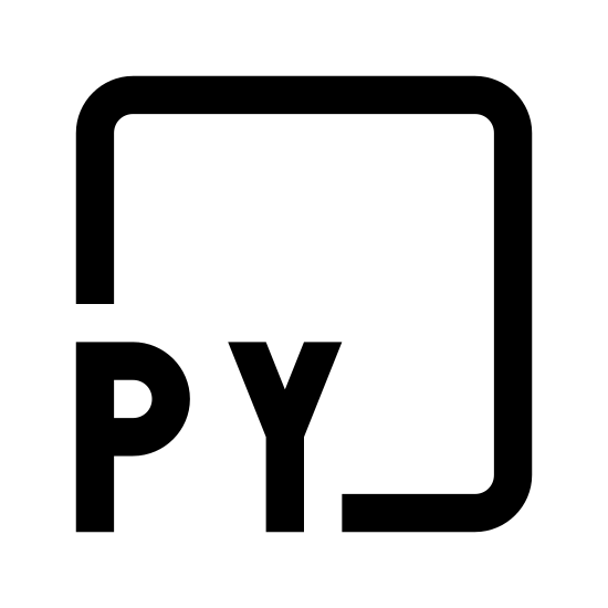 Py icon. The icon is shaped like a equal sided square. Inside of the square at the very center are the letter P and Y. Both letters are capitalized and are the same size.