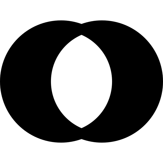 Query Outer Join icon. Two circles are intertwined horizontally like a Venn diagram. The overlapping section in the middle is empty. The leftover portions of the circles on the left and right are covered in tiny polka dots.