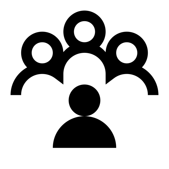 Racism icon. This image is depicting a group of four people clustered together in a solid unit with one person distanced from the other three as if to indicate this person is outcasted. The silhouette of the person in the foreground is distinguished by dots covering the person.