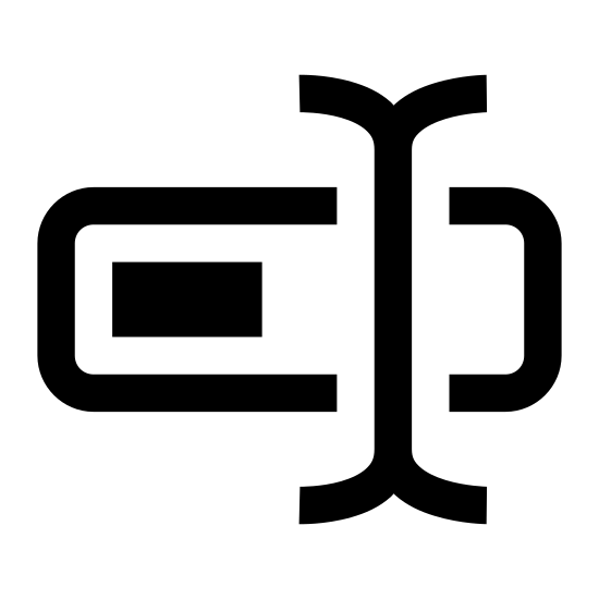 Zmień nazwę icon. A horizontal rectangle is intersected between the right side and center, vertically by two tall lines formed together. At the end of each line both below and above the rectangle they curve in opposite directions of one another.
