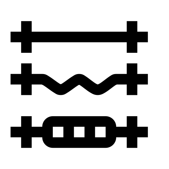 """Gym icon. This icon is made up of three separate groupings, one of top of the other is a vertical manner. The first component of the icon, at the top, is straight line with small, rounded corner, vertical rectangles near both ends of the line. The second component is the same as first, but the middle, between the two vertical rectangles, is a jagged line, representing an """"ez"""" barbell. The third component, like the others, is the same, except the middle. The middle has an oval with two vertical lines centered in the oval."""