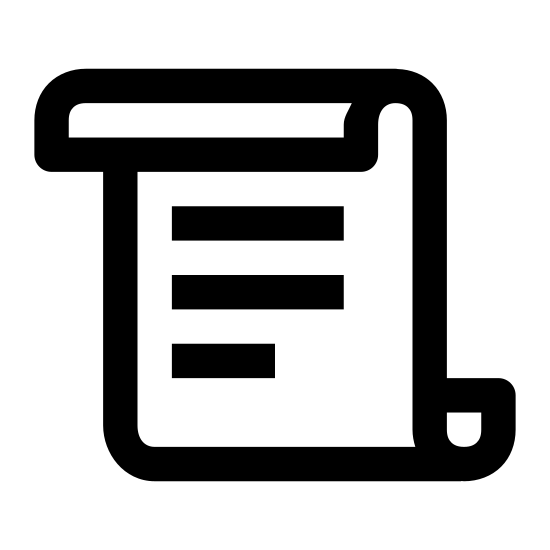 Rules icon. Icon looks like a rectangle but the top side has been folded so that it overlaps the front and the bottom side has been folded so that it overlaps the back. in the middle of the shape, there are four identical, parallel horizontal lines. each line breaks off on the left, leaving a smaller, disjointed segment