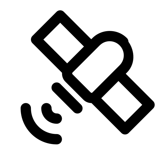 Satelita wysyłająca sygnał icon. This image is depicting a satellite that is facing downward to the left. Below the satellite are two curved lines emanating from the main part of the object as if to indicate the satellite is sending a signal.