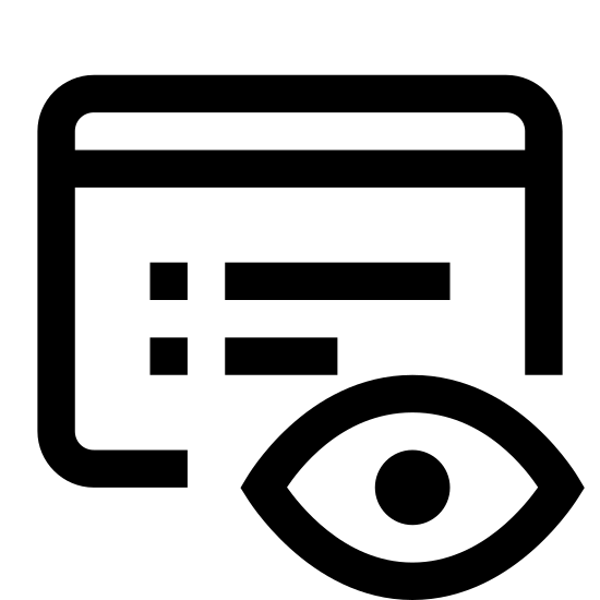 Pokaż obiekt icon. It is an open eyeball sitting in front of a piece of paper. The paper has a blank top line, and 4 broken lines to symbolize writing.