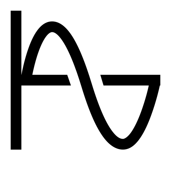 Sine icon. There is a solid line running from north to south. a second line is perpendicular to it intersects in the center. A curved line originating from the intersection of the two strait lines begins going climbing up before turning down and going below the horizontal line before turning once more and meeting the horizontal line. Similar to a sideways S.