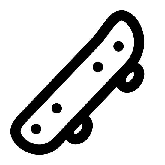 Skateboard icon. The icon is shaped like a rectangle with oval distorted corners. In the rectangle are 4 dots in rows of two on both the left and right side. Under the rectangle shape are two ovals, one at the bottom left and one at the bottom right.