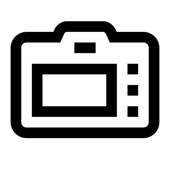 Задняя сторона камеры icon. It is a simple line drawing of the back of a camera. It shows a silhouette of a man on what appears to be a LCD screen. To the right of the screen are 3 buttons 1 on top and 2 below that.