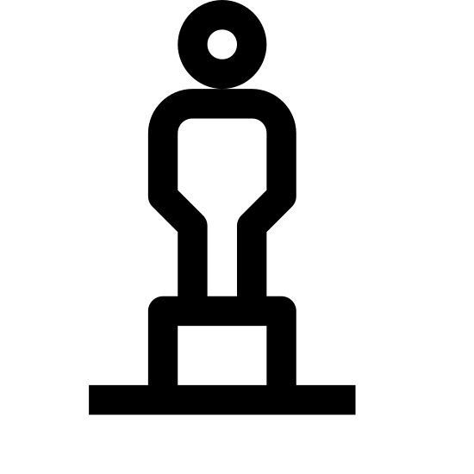 雕像 icon. There are two rectangles on the bottom, with the smaller one stacked on the larger one. On top of the slabs is a figure of a person standing up tall.