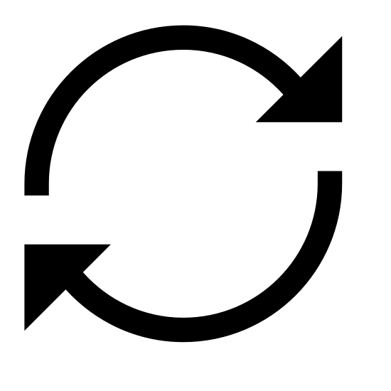 Synchroniser icon. There are 2 circular lines following each other with an arrow on the ends of the circular lines. The are working together as a revolving circle to complete a rotation.