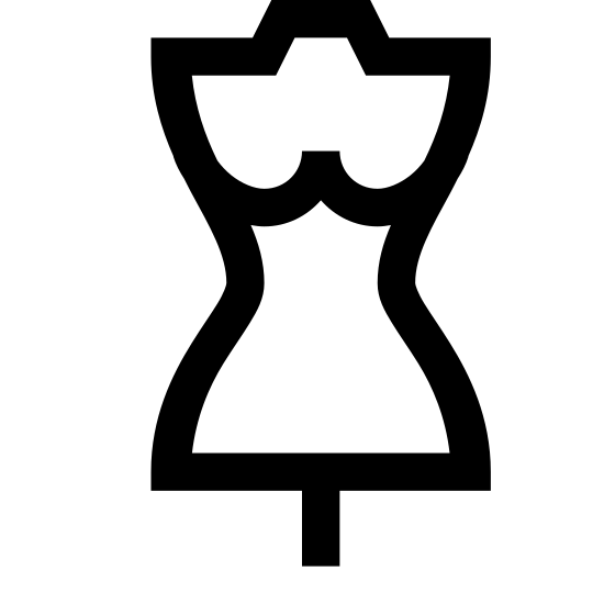 Krawiectwo dla kobiet icon. This is an image of a woman's torso. No arms, legs or head is visible. There are two small lines directly above the waist representing the chest of the torso, and coming out of the bottom of the torso at its center is a small line.