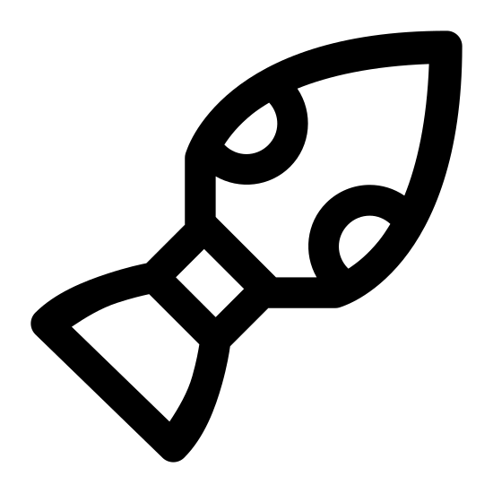 Ster strumieniowy icon. The icon is a simplified depiction of a rocket thruster, used to provide propulsion in vacuum, microgravity environments. The nozzle points to the south-west of the image, connected by a narrow fuel pipe to the body of the thruster, an egg-shape ending in a point to the north-west.