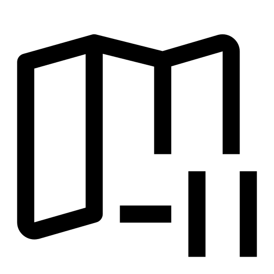 """Strefa czasowa -11 icon. The icon is of an unfolded road map with a small circle in front of it to the right. Inside the circle is """"-11"""", indicating the number of hours subtracted to be that current timezone."""