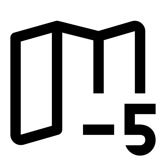 Strefa czasowa -5 icon. An foreground number, specifically a negative five, is centered prominently within a circle. Behind the encircled number is a semi-perforated screen half-folded into four sections and standing on its side.