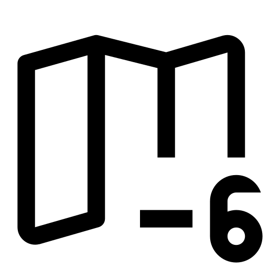 Strefa czasowa +6 icon. A rectangle with zigzag lines on the top and bottom sides has four columns of dots parsed inside. Overlapping the bottom right corner is a circle with plus six inside.