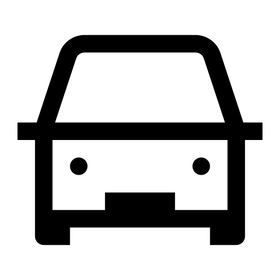 Transport icon. It's a logo for transportation, and is the front of a vehicle. Two circles are placed onto a rectangle, representing headlights, and two stubs sit at either end of the bottom of the rectangle to represent wheels. On top of the rectangle is a rounded rectangle for the cab.