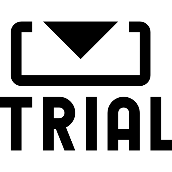 Wersja próbna icon. The image is a rectangle with an arrow coming from the top of it. The arrow is centered and pointing down. Directing underneath the rectangle is the word trial in all capital letters.