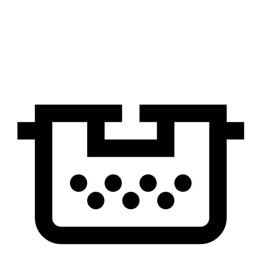Typewriter Without Paper icon. This is an outline of an old school style typewriter. Two small boxes on either side of the upper area represent the roller handles. There are two rows of dots representing the keyboard and a longer line at the bottom representing the spacebar. There is nothing representing paper on this icon.