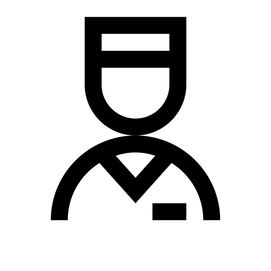 Valet icon. There are two separate portions of this icon. The first portion has a rounded portion that is shaped like someone's head with them wearing a cap. This portion has two lines that run parallel horizontally signifying the bill of the cap. The second portion is the upper torso of a human with them wearing a suit and tie. In the bottom right corner of this portion, there is a small rectangle signifying a name tag of the individual.