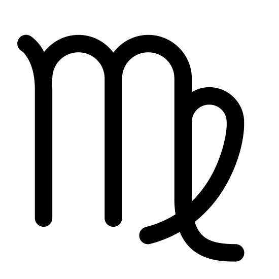 Panna icon. A Virgo symbol is mainly a M, which is to represent the word maiden. Next to the M there is a loop, and the loop is closed because the maiden is supposed to be closed and shouldn't have access to impurities.