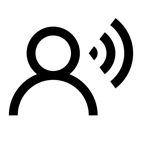 Voice Recognition icon. It's the outline of a person's head and shoulders with a thought bubble coming out from the right-hand side. The entire icon is colored white, while the person's silhouette and thought bubbles are thick black outlines.