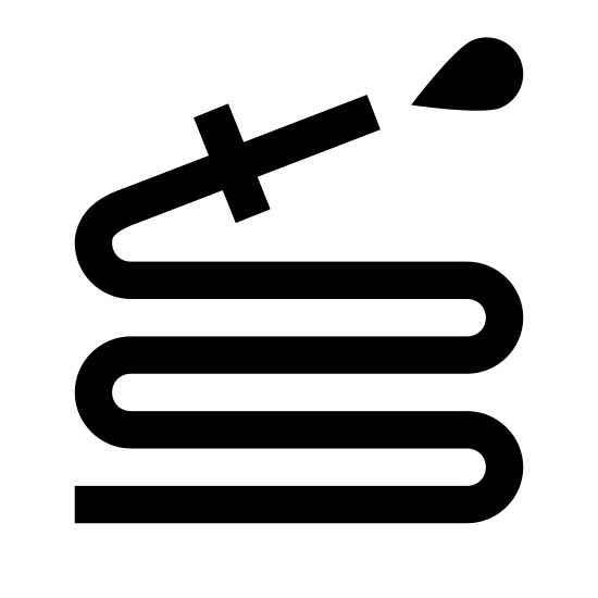 """Wąż do wody icon. It is a snakelike, zig-zagging length of hose, which is used to dispense water. It makes the shape of an """"S"""" with an extra zag at the bottom. At the top is attached a triangular nozzle with a drop of water squirting out of it."""