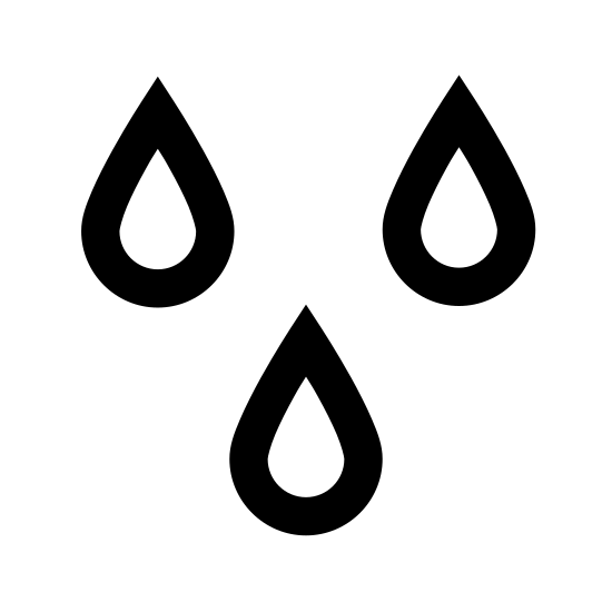 Wet icon. There are three water droplets outlined. The farthest left is the highest, followed by the right and then middle.