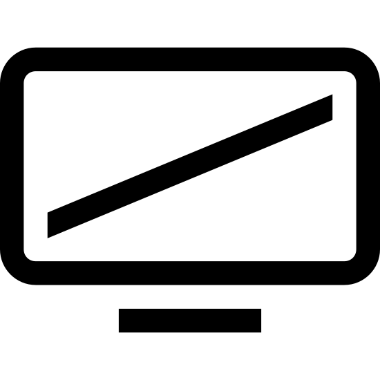 Widescreen icon. It's a drawing of a computer monitor or T.V. with a double ended arrow drawn inside of the screen. The arrow is pointing to the top right of the screen and to the bottom left of the screen as if to indicated the diagonal size of the screen.