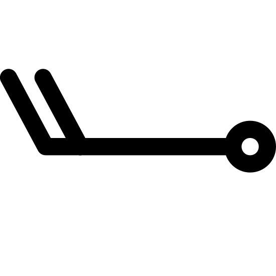 Wind Speed 18-22 icon. This image is of three lines and a circle. The first line is the longest, and is horizontal. At its right most endpoint, there is a circle. On its leftmost end point there is a small line which extends up and to the left, and there is another line parallel to that one a little further in on the line.