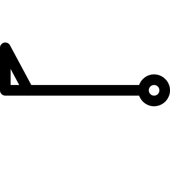 Wind Speed 48-52 icon. This icon indicates wind speed for weather. There is a horizontal line in the center. At one end of the line is a triangle filled in to indicate a flag, and at the other end of the horizontal line is a hollowed out circle.