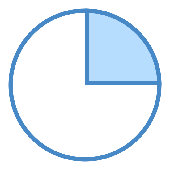 25% icon. The outer shape of the icon is a circle. There are two perpendicular lines that section off the upper left quadrant of the circle. The upper left quadrant is filled with evenly spaced circular dots.
