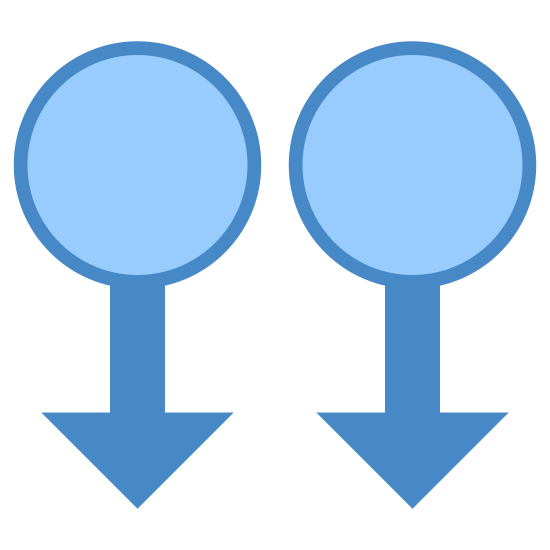 Two Finger Swipe Down icon. It is two circles side by side.  Each circle has a an arrow pointing down. The arrow starts in the bottom center of each circle.
