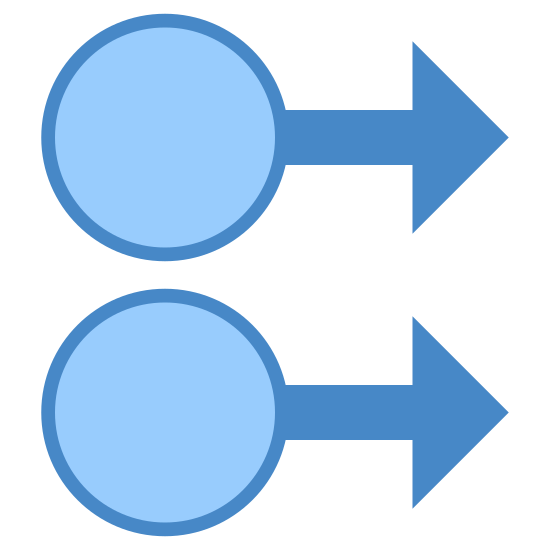 Deslizar a la derecha con dos dedos icon. There are two circles. The one above is slightly to the left, and the other is under, but not directly. Both have arrows attached to their circles pointing right.