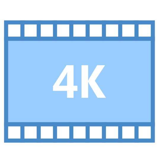 "4k icon. This is a square, with the top and bottom lined with several smaller squares. The characters ""4K"" are in the middle of the big square. There are eight squares that align both the top and bottom of the big square."