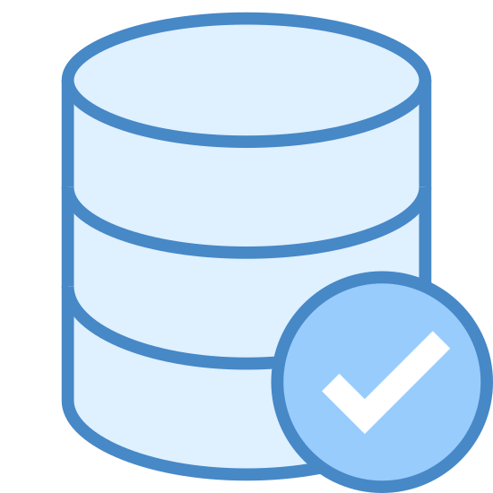 Conferma Database icon. The icon is a cylinder of three 3-d discs stacked on top of each other. Each disk is the same size. In front of the disks, and partially obscuring the right of the bottom two disks is a circle with a check mark in the center of it.