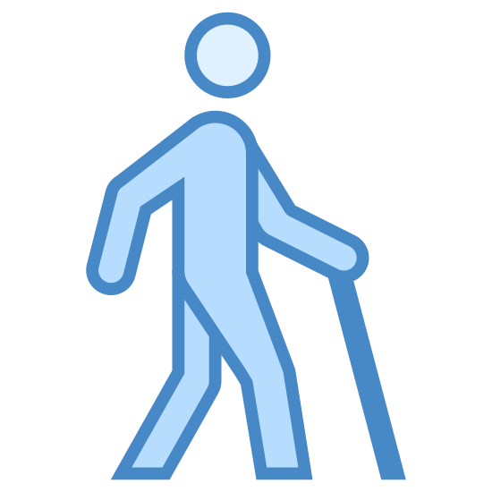 Disabled Access icon. This is a simplified outline of a human. The person is walking to the right and is carrying a cane. The cane is held out in front of him in an exploratory, precautionary way.