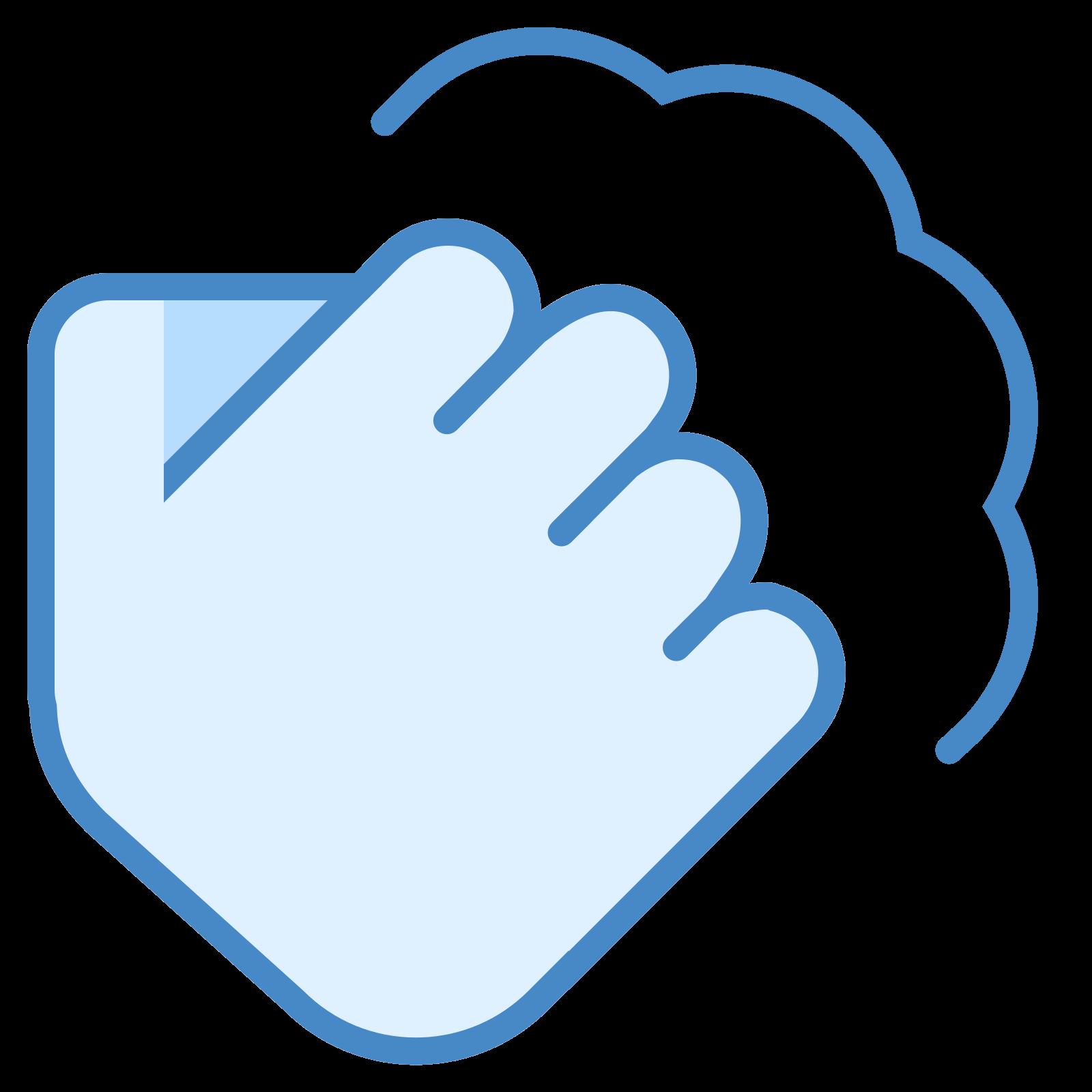 行动 icon. It is a clenched fist with the thumb crossed over the folded in fingers. The fist is being held up in the air, and there is a line drawn above the knuckles of the fist that has a peak over the index, middle, and little fingers.