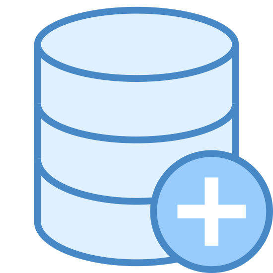 """Add Database icon. It's a drawing of a cylinder that is divided into three short cylinders stacked directly on top of each other. It's like the shape of a three layer cake. There is a plus sign inside of a circle that is placed over the bottom right of the cylinder to indicate, """"add database."""""""