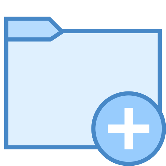 """Add Folder icon. It's a drawing of a file folder with a plus sign enclosed in a circle covering the lower right corner. It is similar to the symbol for """"add folder"""" in the Windows operating system."""