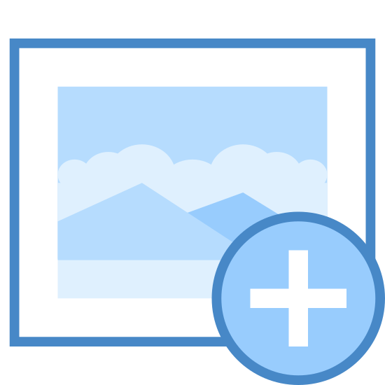 Dodaj obraz icon. This logo is to depict adding an image and has a curvy picture frame with a smaller rectangle inside of it. There is a plus sign inside of that rectangle.