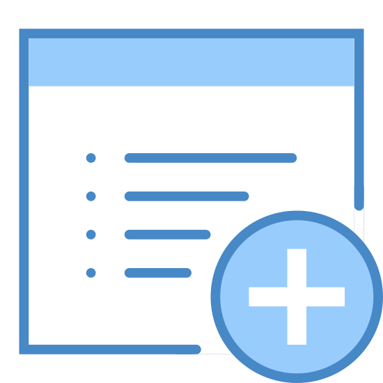 Add Property icon. This is a icon of a small sheet of note book paper with lines representing writing. It also has a small circle in the left hand lower area of the paper with a plus sign in the center of the circle.