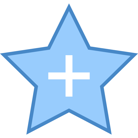 "Add to Favorites icon. There is a ""plus"" sign which is like a cross, but the sides are even, centered inside a five pointed star with all sides that are equal. Both are outlined in black. The star is ""hollow"" otherwise"" in that there is empty space surrounding the icon. Everything is straight (there are no curved lines)."