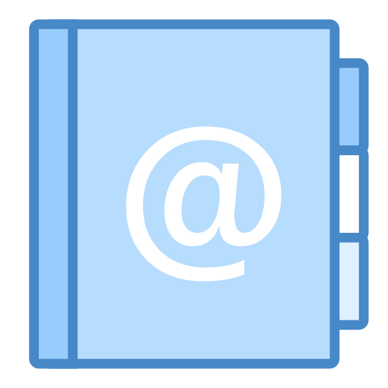 Książka adresowa icon. This is a simple icon meant to represent an address book. It's a rectangle stood on end with rounded corners and the @ sign in the middle. The right hand side of the book is hatched with short lines to represent the rings that hold the pages inside the binder.