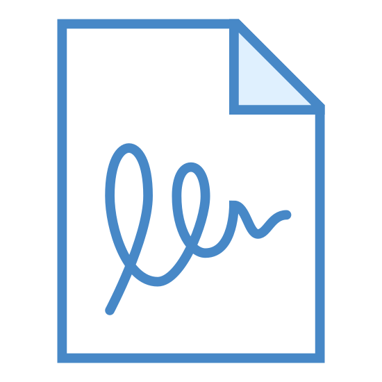 Agreement icon. This is a piece of paper with the top right corner folded over top of it. It has multiple lines of writing from top to bottom. After all of these lines of writing there is a cursive style signature line of text.