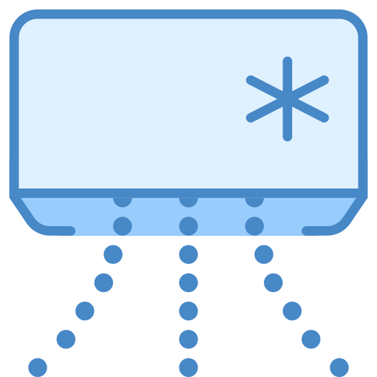 Air Conditioner icon. There is a rectangle shape with a bottom face visible. On the front face near the upper left side theres a snowflake, and coming out of the bottom face are several dots that resemble air flow.